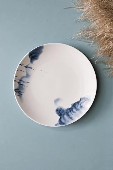 Arma House Mavi Evli Dağ Figürlü Seramik Tatlı Ve Kahvaltı Tabağı 4 Adet Mavi